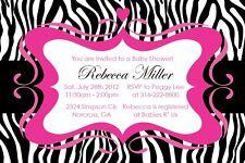 Zebra Print GIRL Elegant Custom Birthday Baby shower Invitation-Print your own