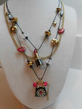 Betsey Johnson Film Noir Pink & Black Phone & Kiss Me Lipstick Illusion Necklace