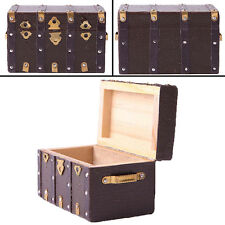 Brown Vintage Wooden Leather Box Case Suitcase For 1/12 Miniature Doll House