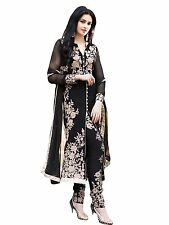 Fashionable​ Georgette Black Semi Stitched Straight Salwar Suit -ES308