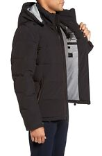 $800 CALVIN KLEIN MENS BLUE Hooded BOMBER QUILTED JACKET Puffer WINTER COAT S