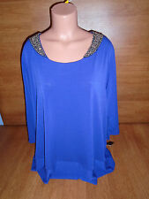 New Womens Plus Size 2X Daisy Fuentes PURPLE NOT BLUE Top Shirt Beaded @