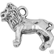 5 Tibetan Silver Lion Pendant Charms 3d
