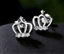 *UK* 925 SILVER PLT ROYAL CROWN CRYSTAL STUD EARRINGS PRINCESS TIARA KING DIVA