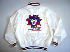 vtg 70's 80's Pla-Jac White Satin Nylon Rodeo Cowboy Clown Jacket 48 - 50 xxl