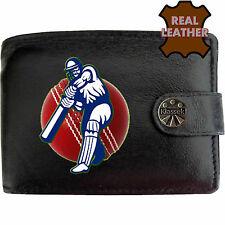 Jugador de Cricket Bateador Cricket Bola Roja Para Hombre Negro Cuero Billetera Novedad Sport imagen