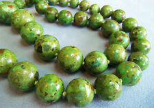 AIL STERLING SILVER 925 LONG HEAVY GREEN MOSAIC TURQUOISE NECKLACE UNWORN