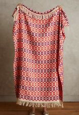 Anthropologie Prismatic Fringe Throw Coral NWT