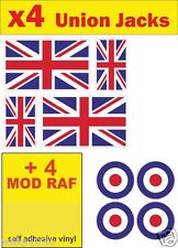 4 Union Jack + 4 MOD RAF decals england GB car van bus Sticker bike dub Scooter