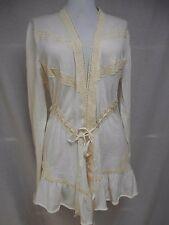 Guinevere Anthropologie Cardigan Sweater L Thin Knit Ruffles Lace Ivory Long