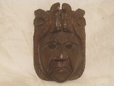unique ornate carved wood face mask wooden head w/ birds carving *slight damage