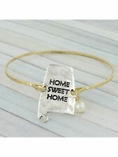 Gold and Silver Home Sweet Home Alabama Hook Closure FASHION Bracelet w/ Pearl
