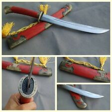 """Chinese Short Sword Dagger """"Qing Dao"""" Alloy Fitting Carbon Steel Sharp Blade"""