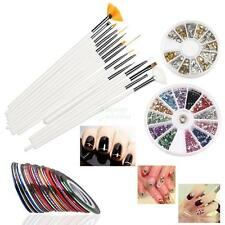 New 15PCS Nail Art Design Pen Brush Kit 30 Nail Decoration Tape Rhinestones Set