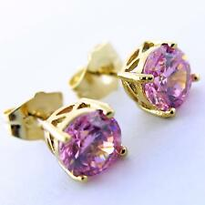 756 GENUINE REAL 18K YELLOW G/F GOLD LADIES PINK DIAMOND SIMULATED STUD EARRINGS