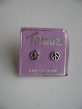 Sterling Silver Small Peace Stud Earrings New Old Stock