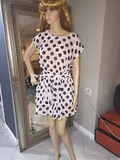 Moon Collection Los Angeles USA Small Polkadot  Boho  Dress Belted