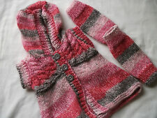 Hand-knitted Childs Hooded Top with Wrist/Ankle Warmers Ref 845