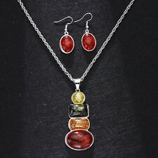 18K Platinum Plated Amber African Jewelry Sets Necklace Earrings Wedding Sets