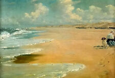 Oil painting peder severin kroyer - seascape people with dog on beach on canvas