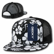 Floral Print TRUCKER HAT 5 Panel Cap retro mesh snapback Black & White Hawaiian