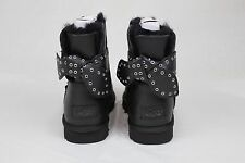UGG AUSTRALIA CAMERON BOW BLACK LEATHER SHEEPSKIN BOOTS SIZE 9 US