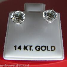 Real 14k Solid  White Gold 1.50 cts round cut stud Earrings push