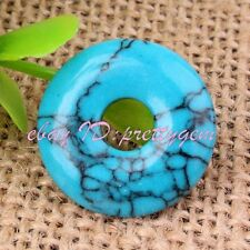 20mm Flat Ring Donut Round Smooth Blue Turquoise Gemstone Pendant Beads 1 Pcs