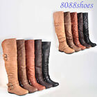 Fashion Round Toe Low Flat Heel Buckle Slouchy Thigh High Boot Shoes Size 5 - 10