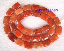 """Natural Crab Fire Agate Flat Rectangle Beads 8×12mm 15"""""""