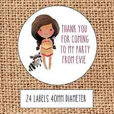 Princess Party bag stickers 24 thank you coming sweet cone birthday Pocahontas