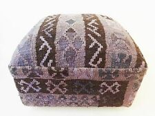 "Superb Turkish Kilim-Upholstered Ottoman /Footstool /Pouf 13"" H by 17"" W"