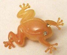 Broche bijou rétro vintage grenouille résine jaune yeux cristal diamant *4196