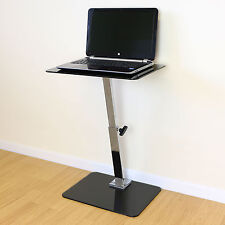Black Glass Adjustable Laptop/Notebook Table Stand Bed/Sofa Office Computer Desk
