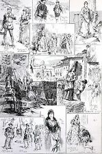 The Armada 1888 DRURY LANE THEATER Play Actors Music Antique Matted Engraving