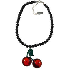 Kreepsville 666 Cherry Skull Necklace Black Rockabilly Psychobilly