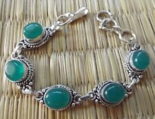 Lovely Indian linked bracelet 17.5 - 20.5 cm green onyx cabochons~Silver plated