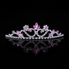 Kids Baby Pink Flower Girl Children Wedding Prom Tiara Crown Headband - Kid Size