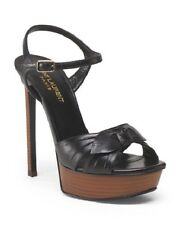 NIB YVES SAINT LAURENT Made In Italy Leather Wooden Heeled Sandal $895 Size 41