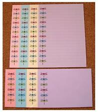 Colourful Dragonfly Dragon Fly Border Letter Writing Paper Stationery Set