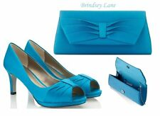 Jacques Vert Turquoise Pleated Court Shoes (6) & Bag ~ BNWBox ~ Matching Set