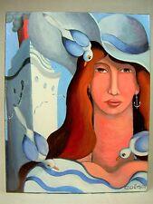 """GUENA (1968 - ) """"ESCALE"""" TABLEAU HUILE /s TOILE 2011 PORTRAIT FEMME ST. ART DECO"""