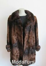 Women's Sz 16/18 SUPERB Brown Swakara Fur Jacket Coat with Mink Fur Collar Real
