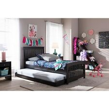 Hevea Twin Size Dark Brown Solid Wood Platform Bed with Guest Trundle Bed NEW