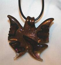 Lovely Choclate Brown Speckly Ambertone Butterfly Murano Glass Pendant Necklace