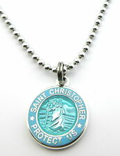 Mini Saint Christopher Medal Necklace Protector of Travel aq-bb Aquamarine-Baby