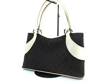 Authentic GUCCI GG Pattern Canvas Leather Black Tote Bag GT10820L