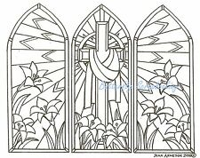 EASTER STAINED GLASS PANEL Wood Mounted Rubber Stamp NORTHWOODS P9944 New