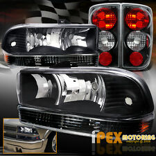 1998-2004 Chevy Blazer Black Euro Headlights + Bumper Signals + Black Tail Light