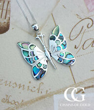 """Large Sterling Silver Enamel Butterfly Pendant & 18"""" Curb Chain GIFT BOXED"""